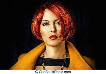 mulher, moda, beleza, jovem, retrato