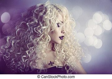 mulher, moda, beleza, retrato, modelo, menina, penteado,...