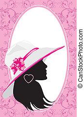 mulher, moda, cartão, hat.