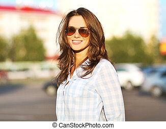 mulher, moda, estilo vida, verão, retrato, óculos de sol, ...