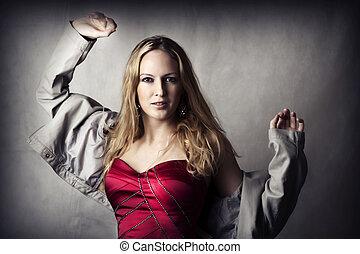 mulher, moda, excitado, jovem, retrato
