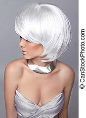 mulher, moda, girl., beleza, hair., cinzento, isolado, retrato, hairstyle., loura, shortinho, experiência., branca