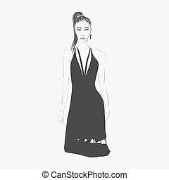 mulher, moda, illustration.