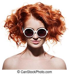 mulher, moda, isolado, sunglasses.