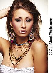 mulher, moda, jóia