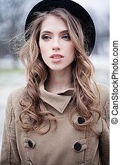 mulher, moda, pretas, ao ar livre, retrato, modelo, chapéu