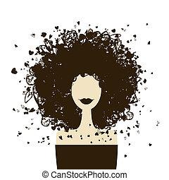 mulher, moda, seu, retrato, desenho