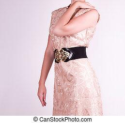mulher, moda, vestido, bonito