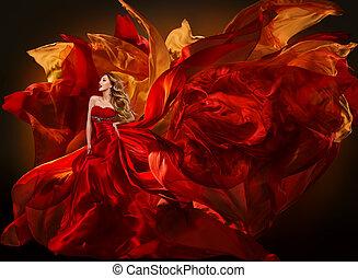 mulher, moda, vestido, voando, vermelho, tecido, bonito, menina, waving, pano seda, ligado, vento