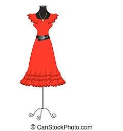 mulher, moda, white., vetorial, vestido, roupas