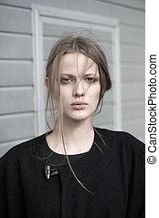 mulher, modelo moda, ao ar livre, retrato