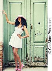 mulher, modelo, moda, pretas, jovem