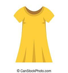 mulher, modernos, amarela, moda, vestido, roupas