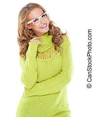 mulher, modernos, vivaz, óculos