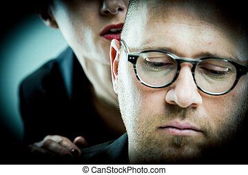 mulher, molests, homem, trabalho
