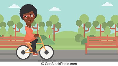 mulher, montando, bicycle.