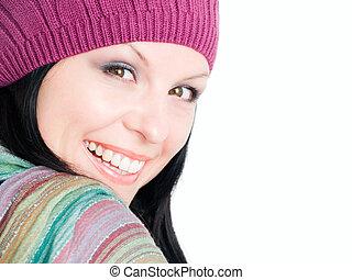 mulher, morena, closeup, outono, sorrindo, roupas