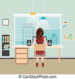 mulher, morena, trabalhos, computador