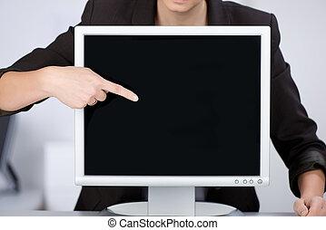 mulher, mostrando, algo, ligado, tela computador