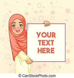 mulher, muçulmano, tábua, segurando, em branco, sorrindo