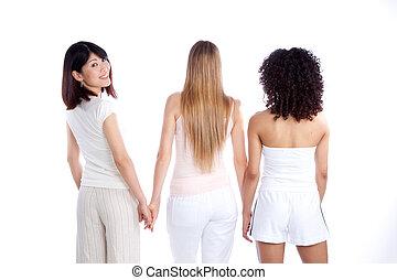 mulher, multiethnic, segurando mão