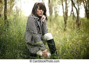 mulher, na moda, jovem
