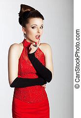 mulher, na moda, olhar, elegante, encantador, vestido, vermelho