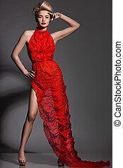 mulher, na moda, vestido vermelho, bonito