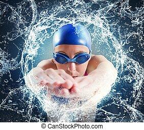 mulher, nadador