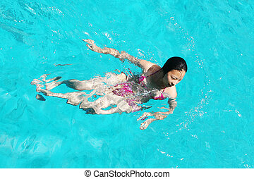 mulher, natação