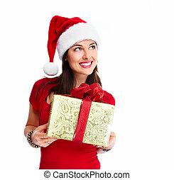 mulher, natal, santa, gift.
