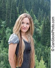 mulher, natureza, jovem, cabelo longo, atraente