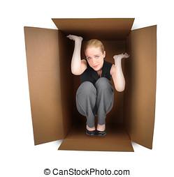 mulher negócio, apanhado, caixa