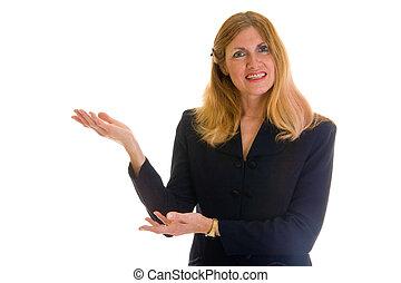 mulher negócio, apontar, 1