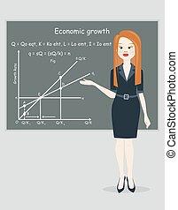 mulher negócio, apresentação, crescimento econômico