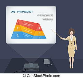 mulher negócio, apresentação, fala, com, projetor