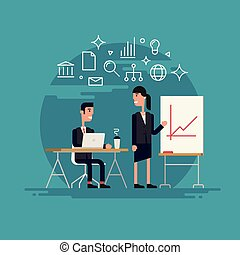 mulher negócio, apresentação, ilustração