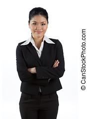 mulher, negócio asiático