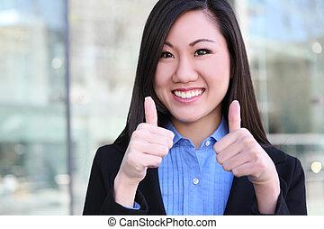 mulher negócio, asiático, sucesso