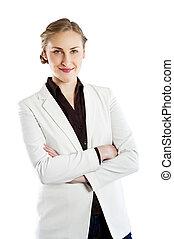mulher, negócio, braços cruzados, isolado, sorrindo, experiência., branca