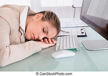 mulher, negócio, cansadas