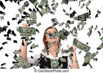 mulher negócio, cathing, queda, dólares