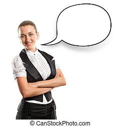 mulher negócio, com, borbulho fala