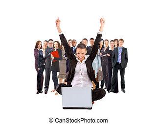 mulher negócio, com, dela, mãos levantadas, enquanto,...