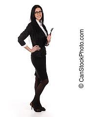 mulher negócio, com, documentos, em, mãos, isolado
