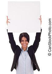 mulher negócio, com, em branco, tábua