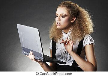 mulher negócio, com, laptop