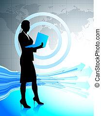 mulher negócio, com, laptop, ligado, mapa mundial