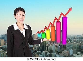 mulher negócio, com, negócio, gráfico