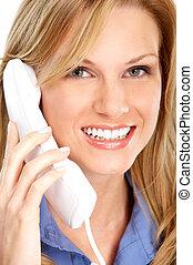 mulher negócio, com, telefone